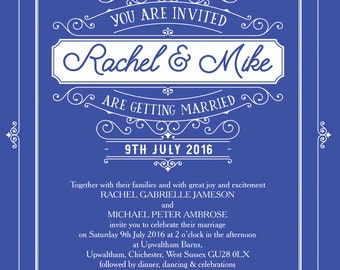 Personalised Royal Blue Elegant Vintage Wedding Invitation with envelope