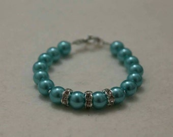 Bridesmaid's Pearl Bracelet, made to order, many colours. Handmade