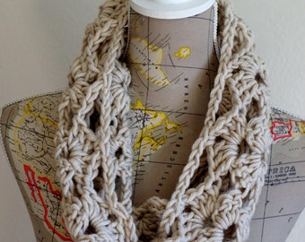 Lacy Beige Cowl Neck Warmer Scarf