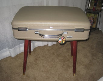 Upcycled vintage suitcase luggage into a kitsch table