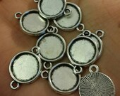 Silver tone 12 mm tray connector cabochon setting 8pcs -A4:11