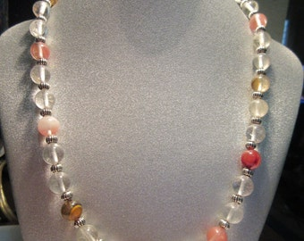 Watermelon Tourmaline Beaded Necklace