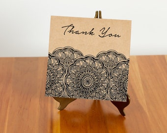 FREE SHIPPING!! Mandala Thank You Card
