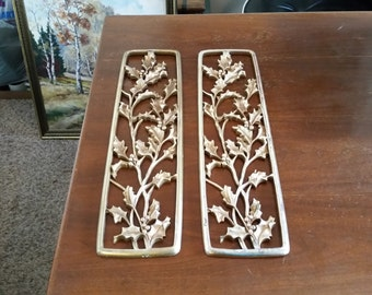 Vintage 1970's Syroco Wall Hangings Solid Wood MCM Metallic Gold Finish Mid Century Modern Decor