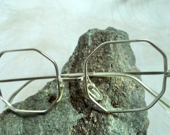 Silver Octagonal Wire Rim Eyeglasses NOS RPWO Glasses Retro Mod chrome 46-18 small Metal Hipster Artsy Sunglasses New Costume Prop Gift