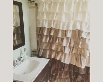 Brown, tan, and beige ruffled shower curtain-can be custom made to your color choice