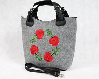 Felt tote, bag with pocket, big, size XL, for shopping,
