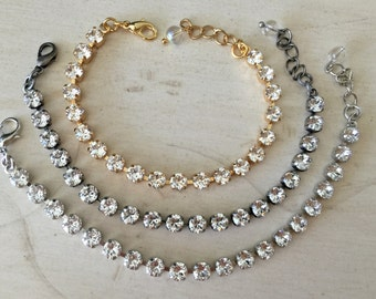 Stackables Clear Crystal Bracelet, select setting finish