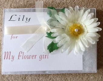 Corsage bridesmaid flower girl or birthday gift with hand made card
