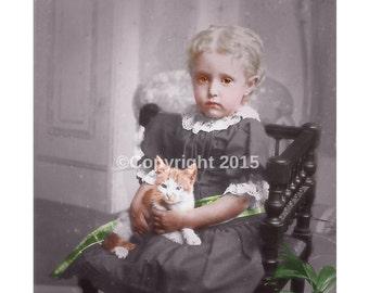 Download Cat Child Girl  Victorian Girl Printable Digital Collage Ephemera Altered Art Mixed Media Vintage Instant Image Cards  Photo