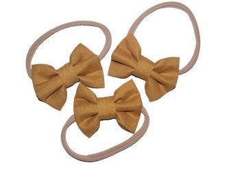 Mustard or olive green hair bow, clip or headband