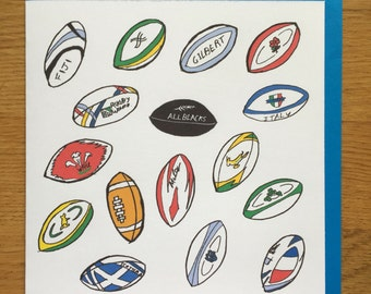 Rugby card,  rugby happy birthday card, rugby balls