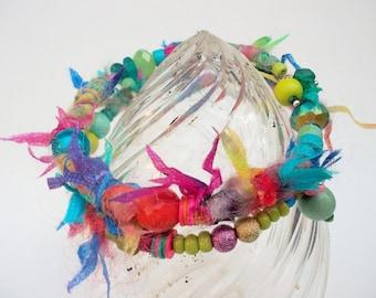 Fabric bracelet wrap bracelet blue green fabric beads handcrafted tribal bracelet hippy bracelet textile bracelet textile jewelry