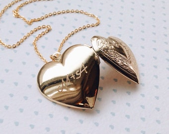 Gold Heart Locket / Engraved Locket / Mother of the Bride Gift / Wedding Gift for Daughter / Gift for Bride from Groom