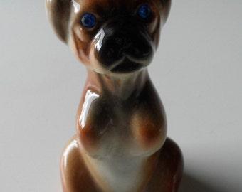 Boxer Dog Vintage Begging Puppy Glazed Ceramic Blue Twinkling Diamante Eyes 10cm