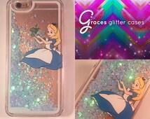 Alice in wonderland Liquid Glitter Blue Hearts iPhone 6+ 6 plus 6, 6s, 5, 5s, SE, SE phone case Disney inspired glitter coveriphone case