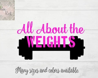 All About the Weights Decal, Fitness Decal, Cross Fit Decal, Training Decal, Weight Lifting Decal, Gym Decal, Barbell Decal