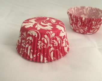Red white swirl baking cupcake liners #25