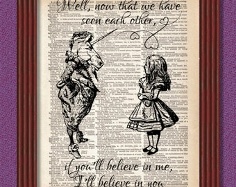 BUY 2 GET 1 FREE If You'll Believe in Me Dictionary Art Print Unicorn Lion Alice Looking Glass Decor Book Lewis Carroll
