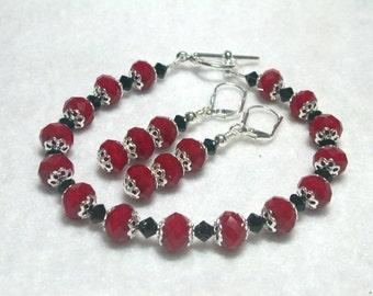 Red and Black Bracelet Swarovski Jet Crystal Silver Toggle Bracelet Silver Plate Leverback Earrings Red Bracelet Red Earrings Black Earrings