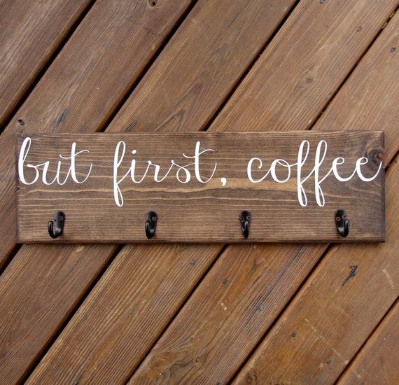 Cup Rack Coffee Mug Sign With Hooks Cup Hanger Custom Kitchen Wood