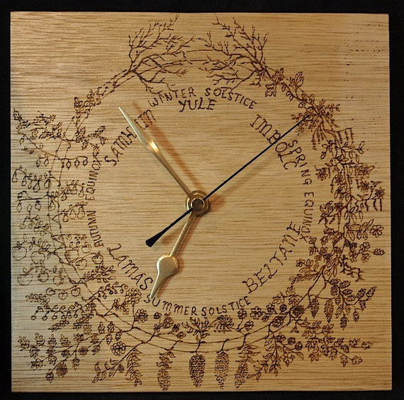 Celtic Calendar Wood : Wooden wall clock celtic year calendar pyrograph wood by