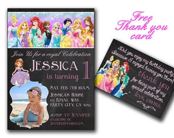 All Disney princesses in Chalkboard birthday card choose changeable princesses,All Princesses Disney Invitation,Princess Birthday,Princess