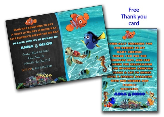 finding nemo baby shower invitation finding dory boy or girl baby