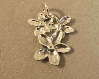Sterling Silver FORGET ME NOT Charm Pendant Flower Garden .925 Sterling Silver New ga69