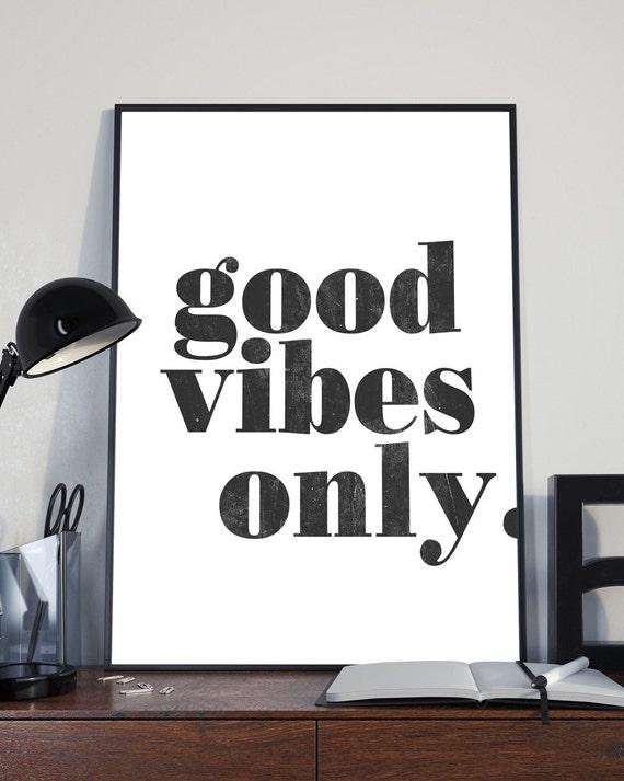 Good vibes only print poster living room print wall art for Good room decor