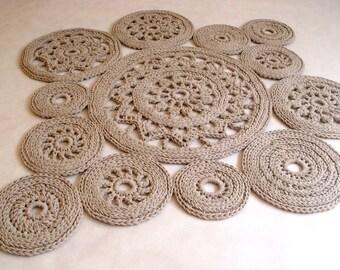 Runder teppich beige  Gelb Baumwollkordel runder Teppich häkeln Teppich häkeln