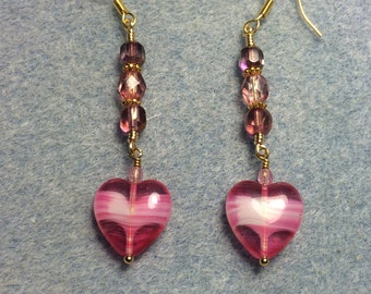 Bright pink Czech glass heart bead dangle earrings adorned with pink Czech glass beads.