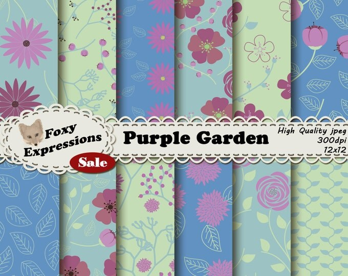 Purple Garden digital paper comes in shades of purple, green and blue. Designs include leaves, roses, daisies, poppies, stem, buds & more
