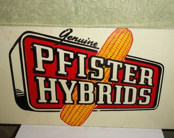 Rustic Mid Century 1940s Genuine Pfister Hybrids Seed Corn Farm Tractor P.A.G. Metal Tin Advertising Sign