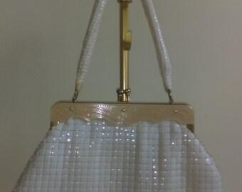 Vintage Ivory Beaded Handbag.