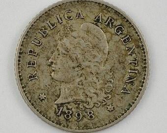 Argentina Republic. 10 Centavos 1898, Silver Coin