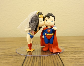 Wonder Woman and Superman Cake Topper. Wedding Cake Topper. Wonder Woman & Superman