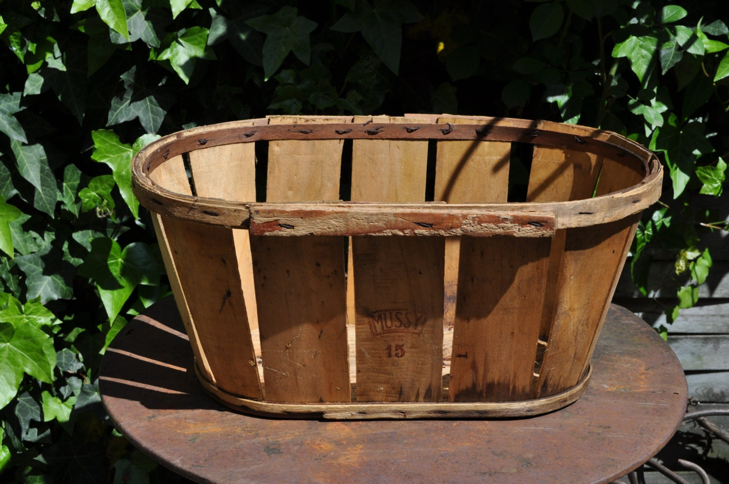 French antique wooden fruits crate french vintage wood crate for Wooden fruit crates