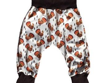 Geometric Turkey • Cuffed Harem Pants • Infant Baby Toddler • Custom • Handmade to Order
