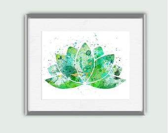 Green Watercolor Lotus Flower Wall Art - Instant Digital Download Printable Shades of Green Watercolor Original Digital Art