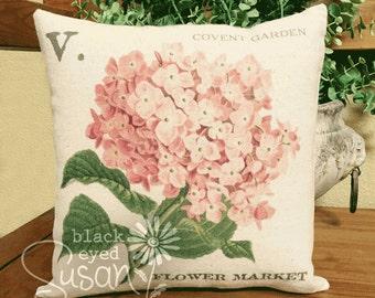 "Pink Hydrangea Pillow Cover | 100% Cotton Canvas | 12"" x 12"", 16"" x 16"", 20"" x 20"" | Covent Garden Flower Market"