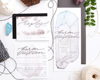 Custom Watercolor Boho Wedding Invitation Suite (Invitation + RSVP Card), Watercolor Invitation Set, Crystal Boho Invitation Set