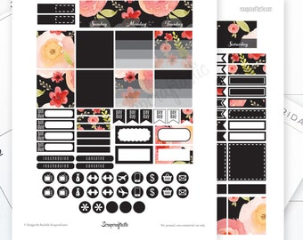 Onyx Month View Printable Planner Stickers for the Standard MAMBI Happy Planner