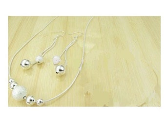 Silver Balls With Matching Earrings