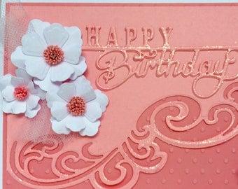 Floral 3D Birthday Card, Handmade Birthday Card, Personalized Card, Unique Card, Hand Made Birthday Card, Luxury Card, Fancy Card