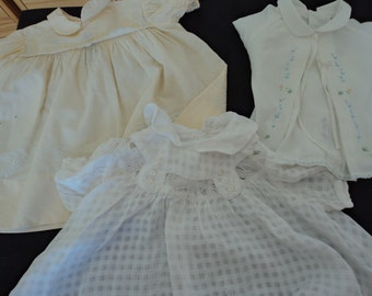 REDUCED - Three French vintage babies dresses with imperfections (03255)