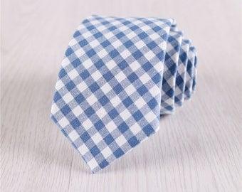 mens necktie.light blue necktie for prom.gingham ties.plaid necktie.cotton neckties for wedding.gift boxed necktie.mens accessories+nt.s423
