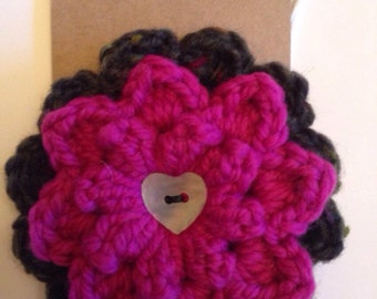 Heart Button Crochet Brooch