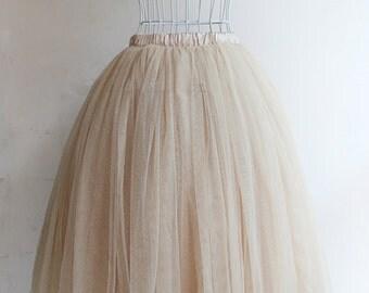 Tulle Skirt for Women , Wedding Tulle Skirt, Adult Tulle Skirt, Champagne Tulle Skirt, Tutu Skirt, Long Floor Length Tulle Skirt