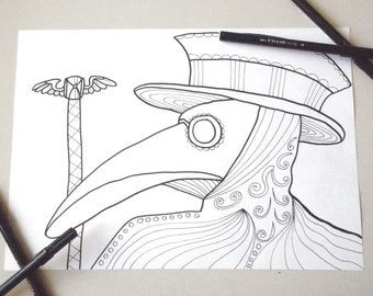 plague doctor mask coloring page adults horror goth download colouring halloween plague mask printable print digital fishes lasoffittadiste